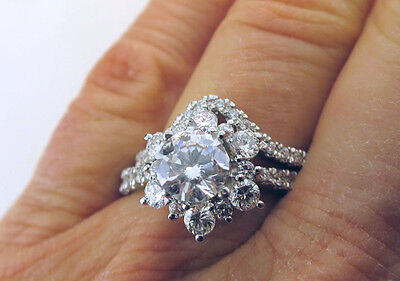 1.00 carat GIA Round Diamond G color SI2, 18k White Gold Cluster Ring with Band 4