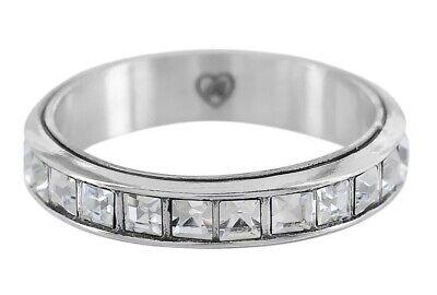Brighton Silver ETERNAL Stack RING 💍 SIZE 9 clear swarovski crystal 💎 NWT 💎