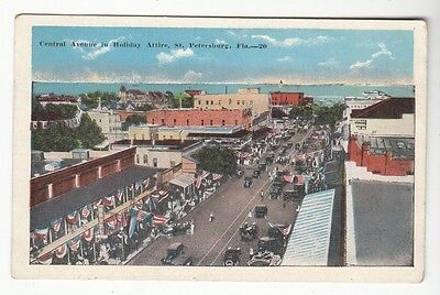 [46950] OLD POSTCARD CENTRAL AVENUE IN HOLIDAY ATTIRE in ST. PETERSBURG, FLORIDA