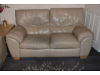 Natuzzi Leather Sofa (soft putty colour)