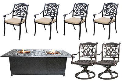 Fire Pit Propane Table 7 Piece Set Cast Aluminum Outdoor Patio Furniture   ()