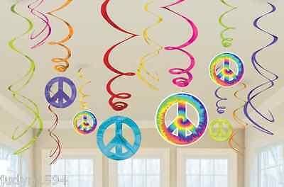 Tye Dye Balloons (FEELING GROOVY SWIRLS PARTY HANGING DECORATIONS HIPPIE 60'S 70'S TYE DYE PEACE)