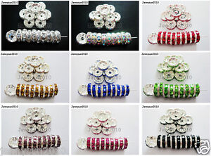100p-Czech-Crystal-Rhinestone-Silver-Rondelle-Spacer-Beads-4mm-5mm-6mm-8mm-10mm