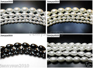 Top-Quality-Czech-Glass-Pearl-Pear-Teardrop-Loose-Beads-15-5-White-Cream-Black