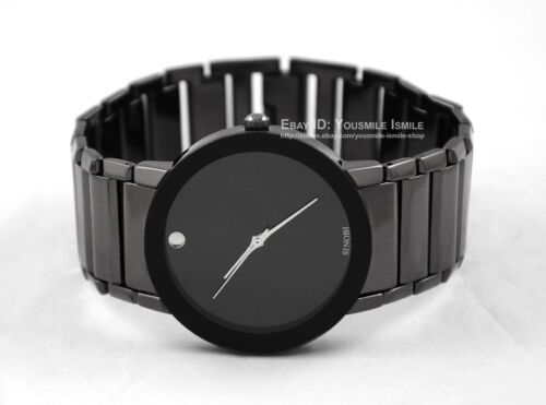 New Fashion Men Boy's Analog Quartz Wrist Watch Black Stainless Steel Watches