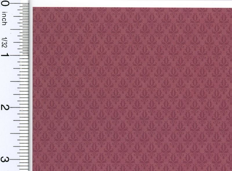 Dollhouse Miniature 1:12 Damask Burgundy Wallpaper by Brodnax Prints