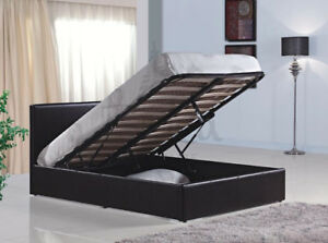 Brown Leather Twin bed with Hydrolic lift for under bed storage