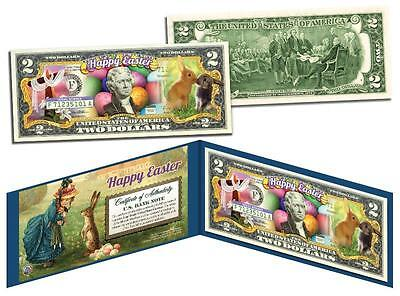 HAPPY EASTER * Easter Eggs & Easter Bunny * $2 Bill U.S. Legal Tender with Folio