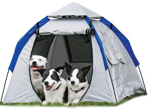 INSTANT POP-UP DOG TENT SILVER COLOR 3-DOGS