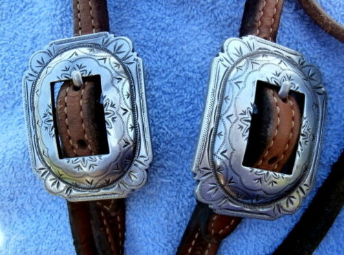Large 2 in. Silver Buckle Ranch Quality Basket Stamp Horse Headstall