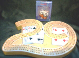 """Cribbage Board wood """"29"""" + NEW Coca Cola Bear playing cards"""