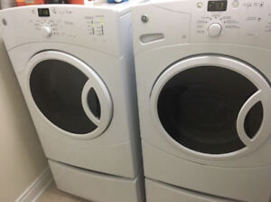 GE White Front Load Washer And Dryer w/ pedestals