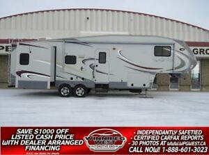 2011 Heartland GREYSTONE 32RL 35FT TRIPLE SLIDE HOME, REAR LOUNG