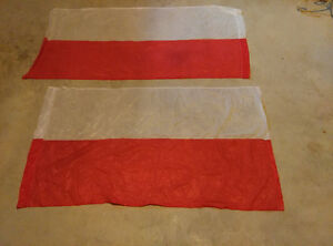 """Two flags of Poland 45"""" x 26"""". Nylon. Works for Indonesia too!"""