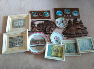 Assorted wall decorations. Price quoted for the lot.
