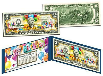 HAPPY BIRTHDAY Keepsake Gift Colorized $2 Bill US Legal Tender with Folio & COA (Happy Birthday Keepsake)