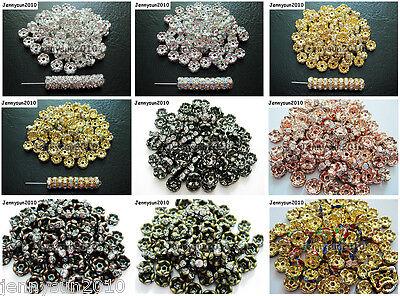 100Pcs Czech Crystal Rhinestone Wavy Rondelle Spacer Beads 4mm 5mm 6mm 8mm 10mm Rondelle Spacer Beads