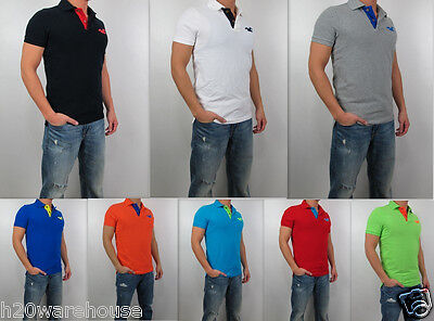 NWT HOLLISTER Men Muscle Fit Fallbrook Scripps Pier Polo Shirt By Abercrombie
