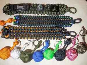 Paracord Survival Bracelets, Monkey Fist Keychains and More