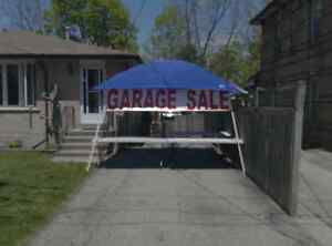 Having a garage sale? Canopy tables signs