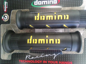Domino black and yellow motorcycle grips