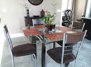 Dining Table Set - 5pc - Square Glass Top / Solid Wood Legs