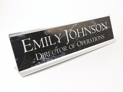 Desk Name plate personalized black marble look with silver aluminum holder 2x8