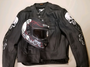 Icon Skull and Chains Motorcycle Jacket and Helmet