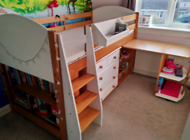 Stompa mid sleeper cabin bed with additional furniture