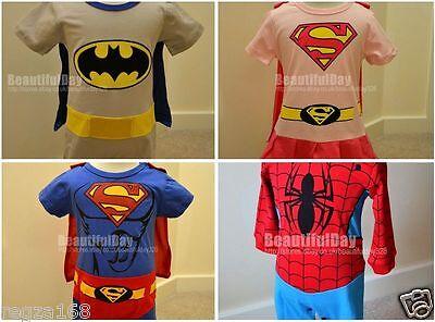 Batman Baby Kostüme (Baby Superboy Supergirl Spiderman Batman Outfit Kostüm 6 - 2 Jahre)