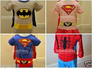 gar on fille b b super h ros spiderman batman body costume d guisement ebay. Black Bedroom Furniture Sets. Home Design Ideas
