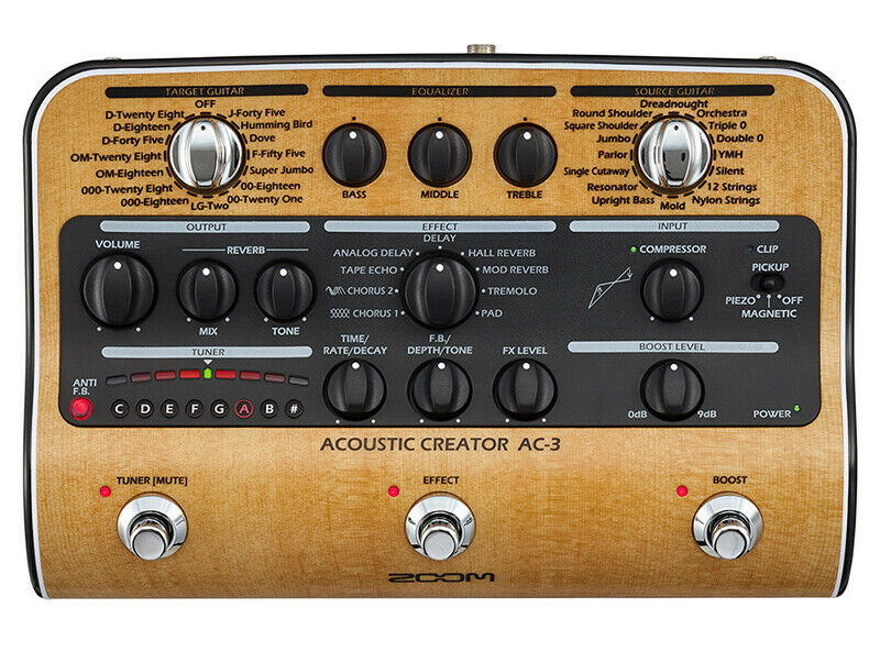 ZOOM  AC-3 ACOUSTIC EFFECTS AND AMP SIMULATOR PEDAL
