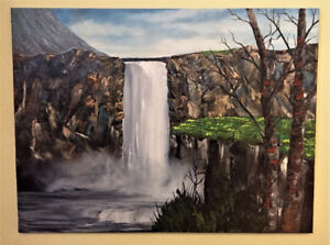 Original oil painting  Misty Waterfall