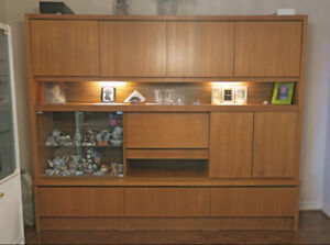 Solid Teak Wall Unit w/Hidden Speaker Shelf, Bar & Much More!