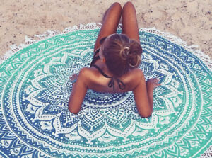 Turquoise ombre Mandala Tapestry Roundie
