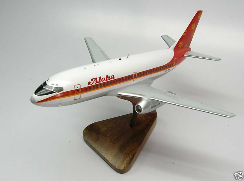 B-737 Aloha Funbird Boeing B737 Airplane Desktop Wood Model Big New
