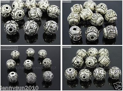 Vintage Spacer - Vintage Patterned Tibetan Silver Spacer Connector Charm Beads 3 Hole Tibet Guru
