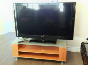 """52"""" HDTV with stand; 3 seats & 2 seats leather reclining sofa,"""