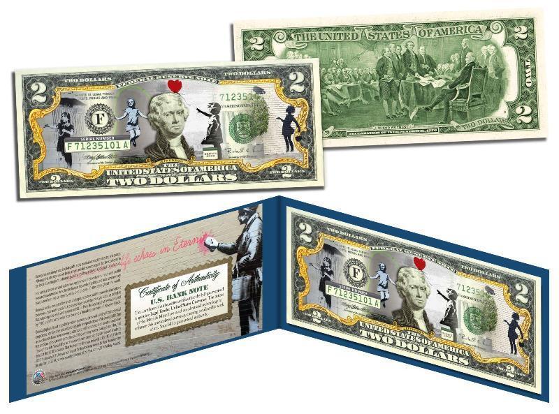 BANKSY GIRLS $2 Bill US Legal Tender Banknote Street Art Graffiti