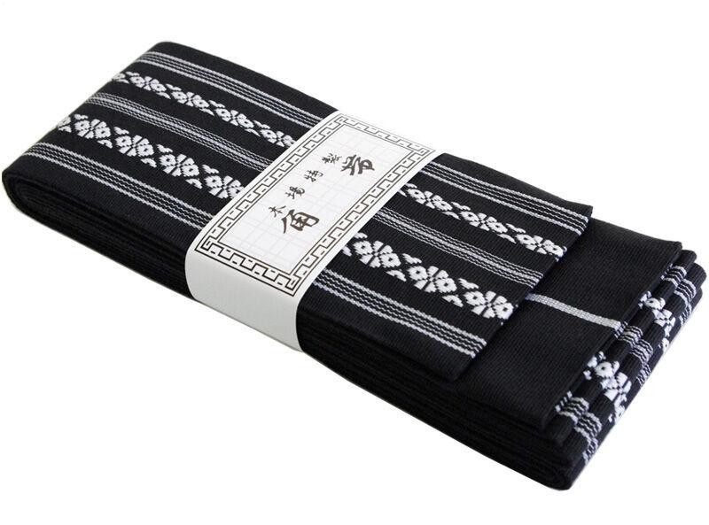Japanese Traditional KAKU OBI Kimono Belt Cotton 100% Black Made in JAPAN