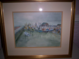 ORIGINAL WATER COLOR DEPICTING A COLLECTION OF ASSORTED FISHING BOATS