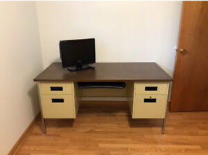Steel office desk with filing cabinets