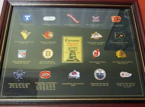 1997 NHL STANLEY CUP CHAMPIONS FRAMED PIN COLLECTION! LEAFS....