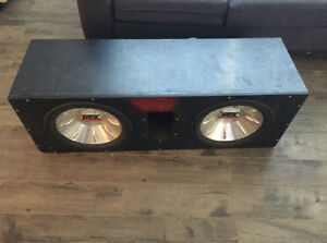 """Dual 12"""" MTX Subwoofers and Dual Amplifiers in Enclosure"""