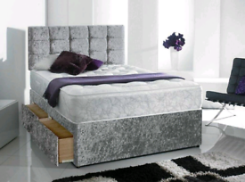 Kingsize Crushed Velvet Bed Mattress and Chesterfield Headboard