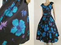 LAURA ASHLEY Vintage Black Floral Cotton Tea Party Dress XS