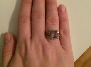 10K White Gold Amethyst Ring w/ Lab-Created White Sapphires