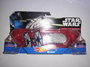STAR WARS HOT WHEELS DIE CAST TIE FIGHTER VS MILLENIUM FALCON DO