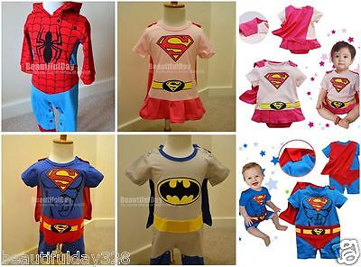 Baby Superman Supergirl Superboy Spiderman Batman Outfit Kostüm Outfit 6-24