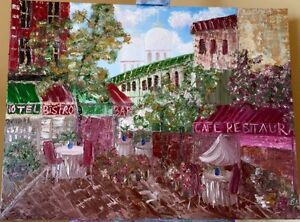 "Local artist TEXTURED Oil painting ""Cafe Dreams"" LARGE"